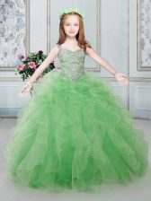 Straps Lace Up Child Pageant Dress Beading and Ruffles Sleeveless Floor Length
