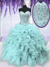Eye-catching Sweetheart Sleeveless Quinceanera Gown Floor Length Beading and Ruffles Light Blue Organza