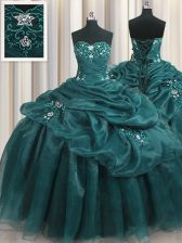 Teal Sweetheart Neckline Beading and Appliques and Ruffles Quinceanera Dresses Sleeveless Lace Up