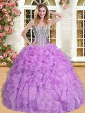 Designer Lavender Sweet 16 Dress Military Ball and Sweet 16 and Quinceanera with Beading and Ruffles Sweetheart Sleeveless Lace Up