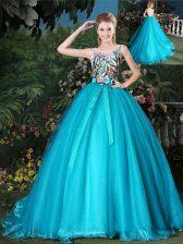Graceful Teal Ball Gowns Organza Scoop Sleeveless Appliques and Belt Zipper 15 Quinceanera Dress Brush Train