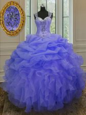 Captivating Straps Sleeveless Organza Sweet 16 Dresses Beading and Ruffles Zipper