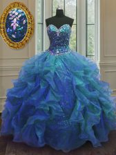 Unique Blue Sweetheart Lace Up Beading and Ruffles Vestidos de Quinceanera Sleeveless