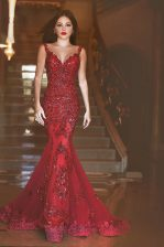 Spectacular Mermaid Sleeveless Sweep Train Backless With Train Appliques and Sequins Evening Dress