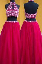 Floor Length Fuchsia Prom Dresses Halter Top Sleeveless Backless