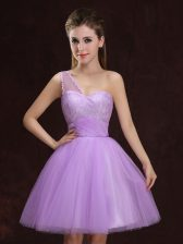 One Shoulder Mini Length A-line Sleeveless Lilac Court Dresses for Sweet 16 Lace Up