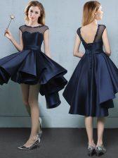 Latest Bateau Cap Sleeves Satin Damas Dress Appliques Lace Up