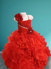 Dazzling Red Asymmetric Lace Up Beading and Ruffles and Hand Made Flower Flower Girl Dresses Sleeveless