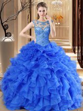 Great Royal Blue Sweet 16 Dresses Military Ball and Sweet 16 and Quinceanera with Beading and Ruffles Scoop Sleeveless Lace Up