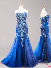 Shining Mermaid Sweetheart Sleeveless Brush Train Beading and Appliques Royal Blue Tulle