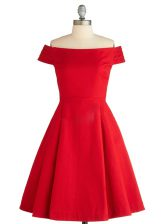 Exceptional Red A-line Satin Off The Shoulder Sleeveless Ruching Knee Length Zipper Prom Dress