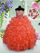 New Arrival Coral Red Lace Up Little Girls Pageant Dress Wholesale Ruffled Layers and Sequins Sleeveless Floor Length
