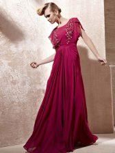 Fuchsia Zipper Scoop Beading Prom Dresses Chiffon Cap Sleeves