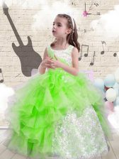 Modern Scoop Ball Gowns Beading and Ruffles Girls Pageant Dresses Lace Up Organza Sleeveless Floor Length