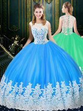 Tulle Scoop Sleeveless Zipper Lace and Appliques Quinceanera Gowns in Baby Blue
