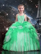 Apple Green Organza Lace Up Spaghetti Straps Sleeveless Floor Length Girls Pageant Dresses Beading and Ruffles