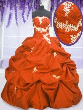 Super Floor Length Lace Up Quinceanera Dress Orange Red for Military Ball and Sweet 16 and Quinceanera with Appliques and Pick Ups