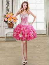 Stunning Hot Pink Ball Gowns Organza Sweetheart Sleeveless Beading and Ruffles and Sequins Mini Length Lace Up Prom Gown