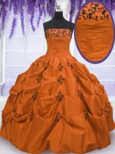 Orange Red Taffeta Lace Up Quinceanera Dresses Sleeveless Floor Length Embroidery and Pick Ups