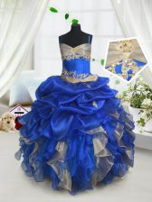 Customized Blue and Champagne Ball Gowns Organza Spaghetti Straps Sleeveless Beading and Ruffles and Pick Ups Floor Length Lace Up Girls Pageant Dresses