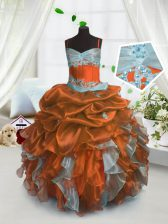 Beautiful Organza Spaghetti Straps Sleeveless Lace Up Beading and Ruffles and Pick Ups Kids Formal Wear in Rust Red