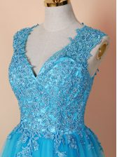 Blue V-neck Zipper Beading and Appliques Prom Gown Sleeveless