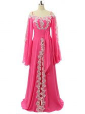 Cheap Hot Pink A-line Spaghetti Straps Long Sleeves Chiffon Sweep Train Zipper Lace and Sequins Prom Gown