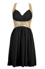 Black Sleeveless Knee Length Sequins Criss Cross Prom Dresses