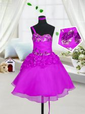 Gorgeous Organza Sleeveless Knee Length Child Pageant Dress and Beading and Hand Made Flower