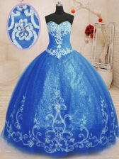 Stunning Sleeveless Tulle Floor Length Lace Up Sweet 16 Dresses in Blue with Beading and Appliques