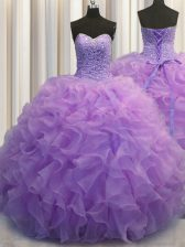 Lavender Ball Gowns Beading and Ruffles Sweet 16 Quinceanera Dress Lace Up Organza Sleeveless Floor Length