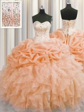 Visible Boning Sleeveless Organza Floor Length Lace Up Quince Ball Gowns in Orange with Beading and Ruffles