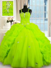 Dynamic Sleeveless Floor Length Beading and Pick Ups Lace Up 15 Quinceanera Dress with Yellow Green