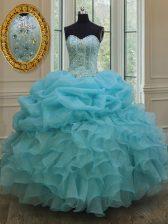 Noble Baby Blue Lace Up 15th Birthday Dress Beading and Pick Ups Sleeveless Floor Length