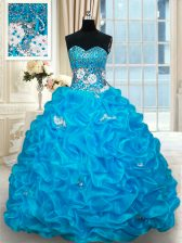 Unique Sleeveless Brush Train Beading and Pick Ups Lace Up Quinceanera Dress