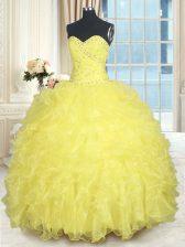 Dynamic Yellow Lace Up Sweet 16 Dresses Beading and Ruffles Sleeveless Floor Length