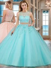Lovely Scoop Aqua Blue Two Pieces Beading and Appliques Quinceanera Dresses Zipper Tulle Sleeveless Floor Length