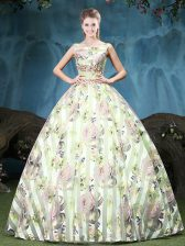 Tulle Straps Sleeveless Lace Up Appliques and Pattern Quinceanera Gown in Multi-color