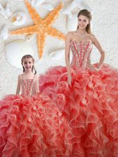 Popular Coral Red Organza Lace Up 15 Quinceanera Dress Sleeveless Floor Length Beading and Ruffles