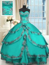 Modern Turquoise Ball Gowns Taffeta Sweetheart Sleeveless Beading and Embroidery and Ruffled Layers Floor Length Lace Up Quince Ball Gowns