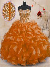 Stunning Beading and Ruffles 15 Quinceanera Dress Orange Lace Up Sleeveless Floor Length