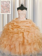 Glittering Organza Sweetheart Sleeveless Lace Up Beading and Ruffles 15th Birthday Dress in Gold