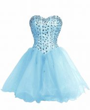 Affordable Baby Blue Ball Gowns Sweetheart Sleeveless Organza Mini Length Lace Up Beading