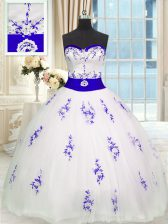 Suitable White Ball Gowns Embroidery and Belt Sweet 16 Quinceanera Dress Lace Up Tulle Sleeveless Floor Length