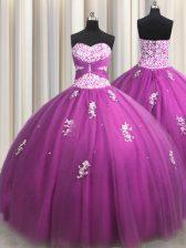 Wonderful Fuchsia Sleeveless Beading and Appliques Floor Length 15th Birthday Dress