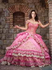 Off the Shoulder Rose Pink Sleeveless Beading and Embroidery and Ruffled Layers Floor Length Quinceanera Dresses