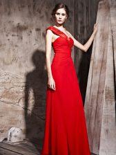 Taffeta Sweetheart Sleeveless Side Zipper Beading Dress for Prom in Red