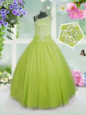 Apple Green Kids Pageant Dress Party and Wedding Party with Beading Asymmetric Sleeveless Side Zipper