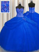 New Style Big Puffy Floor Length Ball Gowns Sleeveless Royal Blue Ball Gown Prom Dress Lace Up