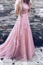 Exceptional Scoop Sleeveless Sweep Train Zipper Appliques and Sashes ribbons Evening Dress